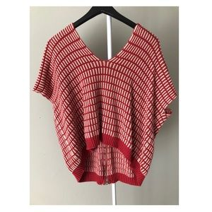 Red Striped Fashion Sweater High Low